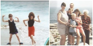 Left: Showing off in the Atlantic Ocean  Right: My family and my Great Grandma on the Cabot Trail